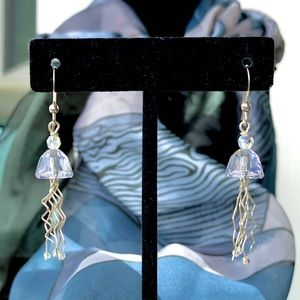 Glass Jellyfish Silver Earring By Patsy Evins